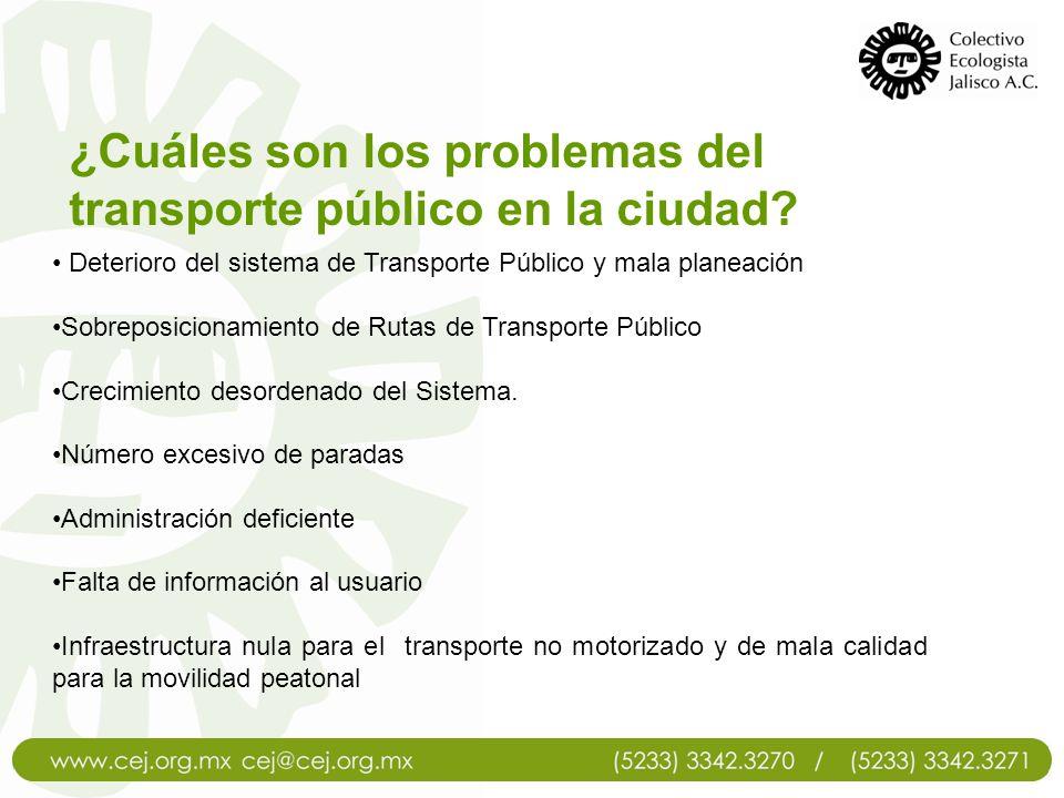 Deterioro del sistema de Transporte Público y mala planeación Sobreposicionamiento de Rutas de Transporte Público Crecimiento desordenado del Sistema.