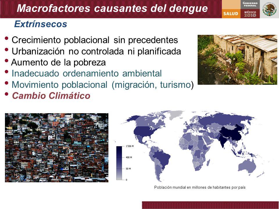 Macrofactores causantes del dengue Crecimiento poblacional sin precedentes Urbanización no controlada ni planificada Aumento de la pobreza Inadecuado