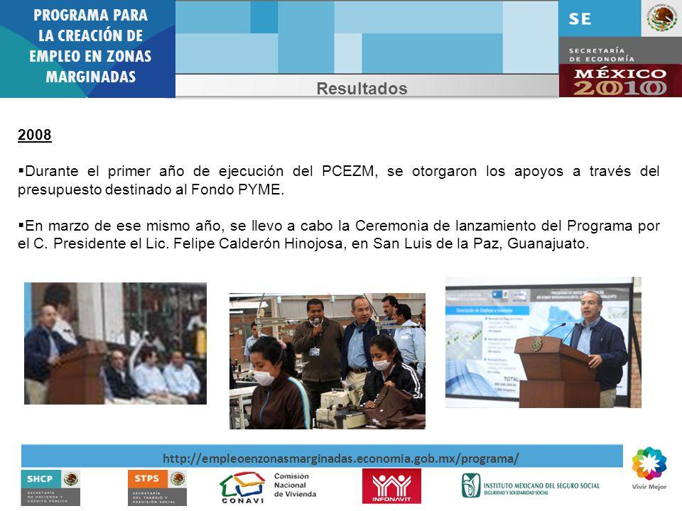 PROGRAMA PARA LA CREACIÓN DE EMPLEO EN ZONAS MARGINADAS http://empleoenzonasmarginadas.economia.gob.mx/programa/ Resultados 2008 Durante el primer año de ejecución del PCEZM, se otorgaron los apoyos a través del presupuesto destinado al Fondo PYME.