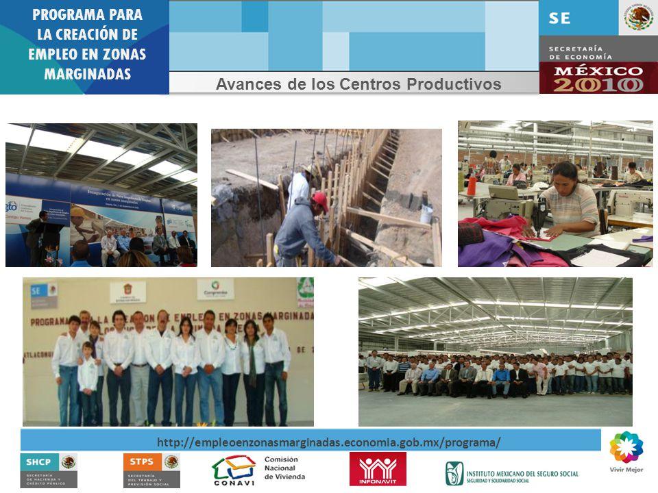 PROGRAMA PARA LA CREACIÓN DE EMPLEO EN ZONAS MARGINADAS http://empleoenzonasmarginadas.economia.gob.mx/programa/ Avances de los Centros Productivos