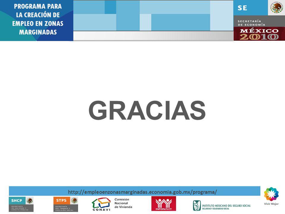 PROGRAMA PARA LA CREACIÓN DE EMPLEO EN ZONAS MARGINADAS http://empleoenzonasmarginadas.economia.gob.mx/programa/ GRACIAS