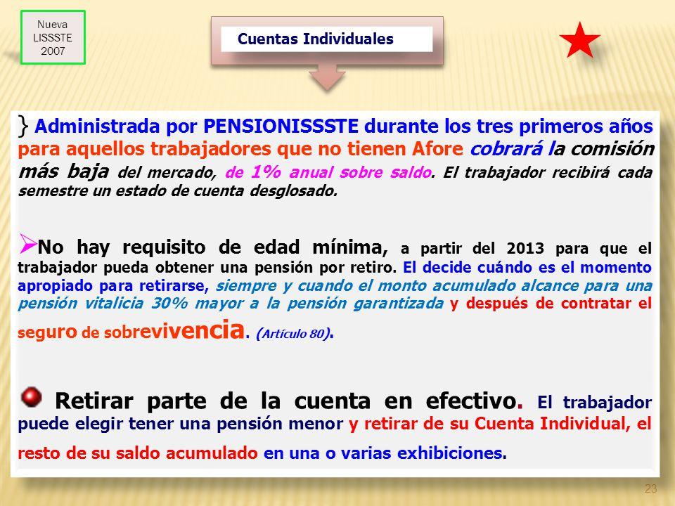 23 Cuentas Individuales } Administrada por PENSIONISSSTE durante los tres primeros años para aquellos trabajadores que no tienen Afore cobrará la comi