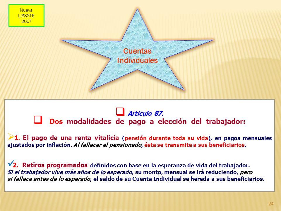 24 Artículo 87. Dos modalidades de pago a elección del trabajador: 1. El pago de una renta vitalicia (pensión durante toda su vida), en pagos mensuale