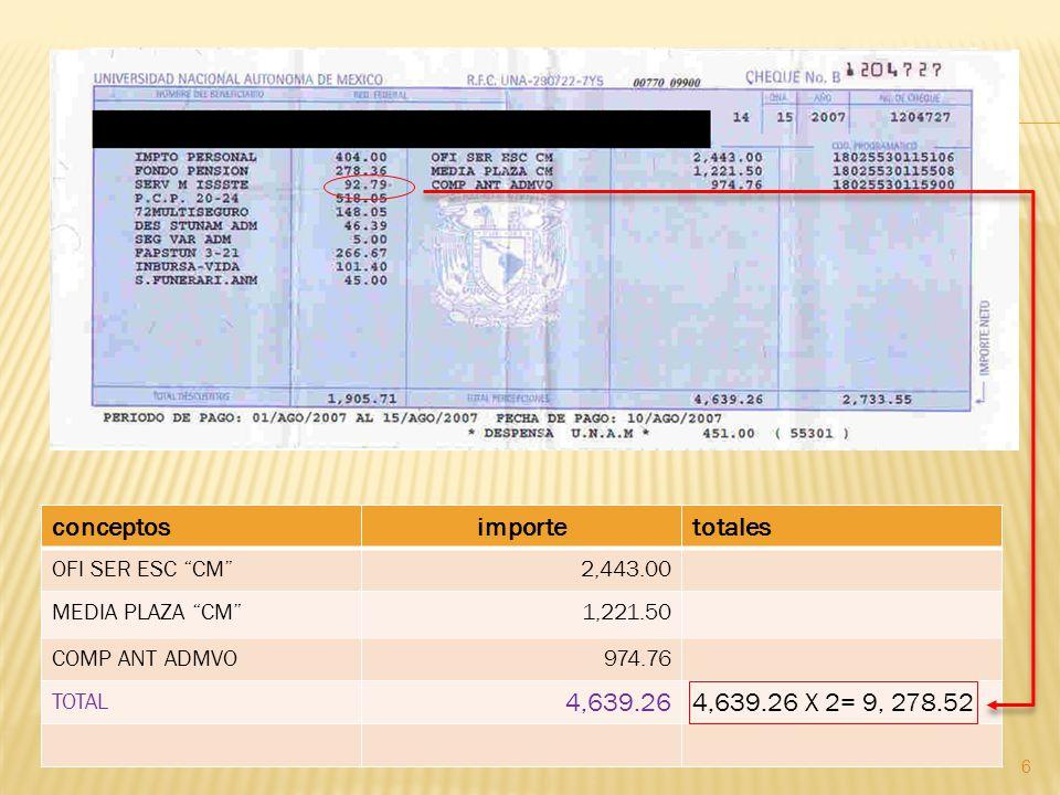 6 conceptosimportetotales OFI SER ESC CM2,443.00 MEDIA PLAZA CM1,221.50 COMP ANT ADMVO974.76 TOTAL 4,639.264,639.26 X 2= 9, 278.52
