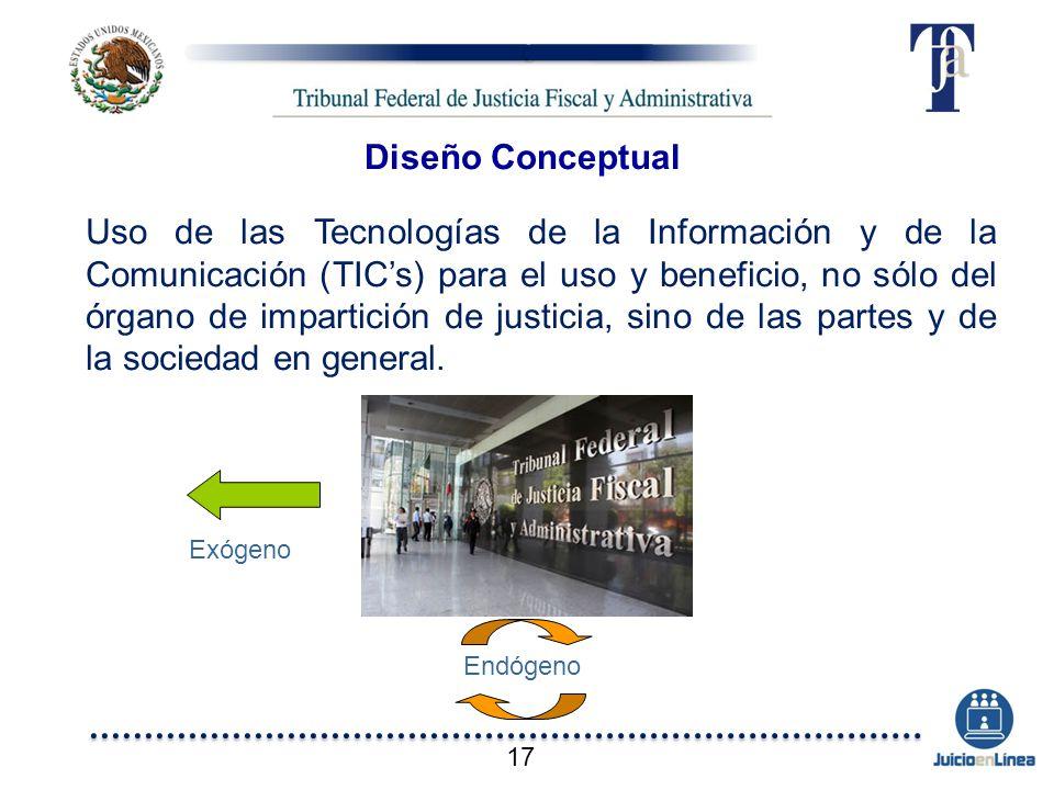 Diseño Conceptual Uso de las Tecnologías de la Información y de la Comunicación (TICs) para el uso y beneficio, no sólo del órgano de impartición de j