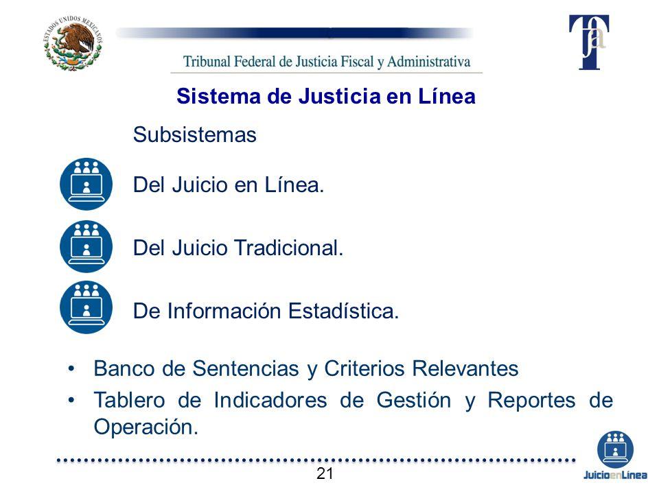 Subsistemas Del Juicio en Línea. Del Juicio Tradicional. De Información Estadística. Banco de Sentencias y Criterios Relevantes Tablero de Indicadores
