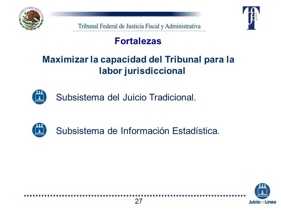Subsistema del Juicio Tradicional. Subsistema de Información Estadística. Fortalezas Maximizar la capacidad del Tribunal para la labor jurisdiccional