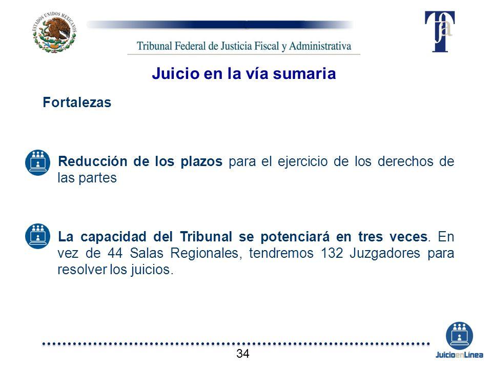 Fortalezas Reducción de los plazos para el ejercicio de los derechos de las partes La capacidad del Tribunal se potenciará en tres veces. En vez de 44