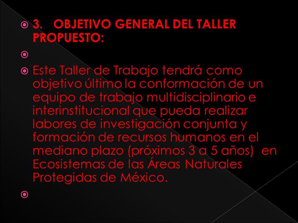 3. OBJETIVO GENERAL DEL TALLER PROPUESTO: Este Taller de Trabajo tendrá como objetivo último la conformación de un equipo de trabajo multidisciplinari