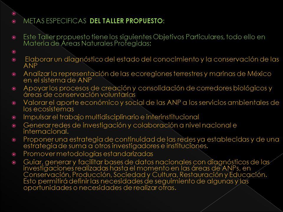 METAS ESPECIFICAS DEL TALLER PROPUESTO : Este Taller propuesto tiene los siguientes Objetivos Particulares, todo ello en Materia de Áreas Naturales Pr
