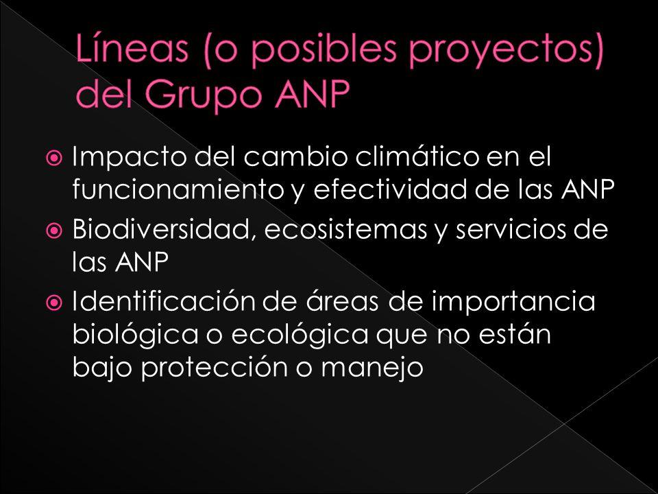 Impacto del cambio climático en el funcionamiento y efectividad de las ANP Biodiversidad, ecosistemas y servicios de las ANP Identificación de áreas d