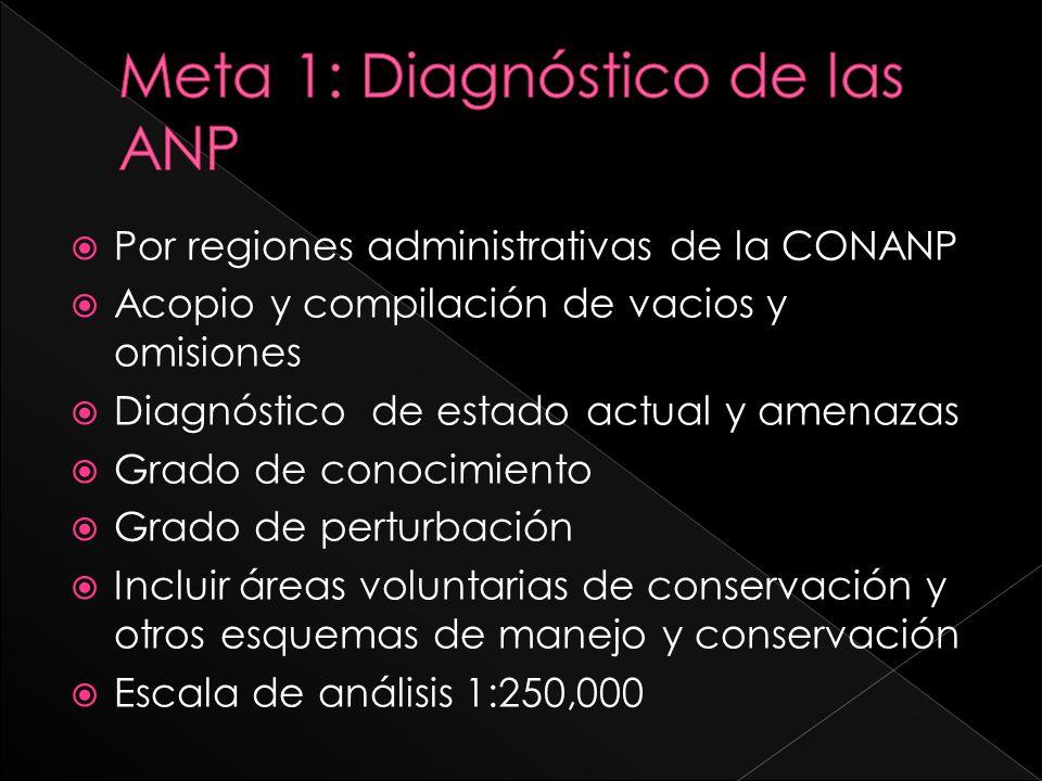 Por regiones administrativas de la CONANP Acopio y compilación de vacios y omisiones Diagnóstico de estado actual y amenazas Grado de conocimiento Gra