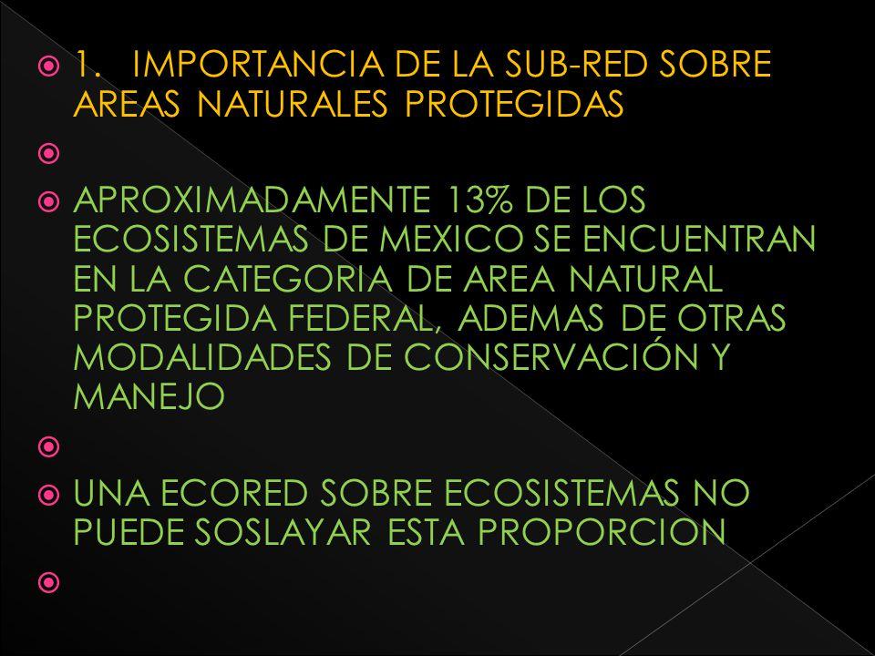 1. IMPORTANCIA DE LA SUB-RED SOBRE AREAS NATURALES PROTEGIDAS APROXIMADAMENTE 13% DE LOS ECOSISTEMAS DE MEXICO SE ENCUENTRAN EN LA CATEGORIA DE AREA N