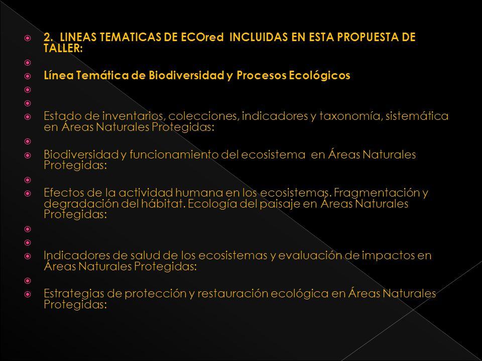 Línea Temática de Cambio Climático Global (CC) Cambio global y su impacto sobre la biodiversidad en Áreas Naturales Protegidas: Componentes ecosistémicos de las Áreas Naturales Protegidas sensibles al CC Tipos de respuesta de los ecosistemas en Áreas Naturales Protegidas y sus atributos al CC Línea Temática de Dimensión Humana Sociedad y ecosistemas: provisión de servicios ecosistémicos y bienestar humano en Áreas Naturales Protegidas.