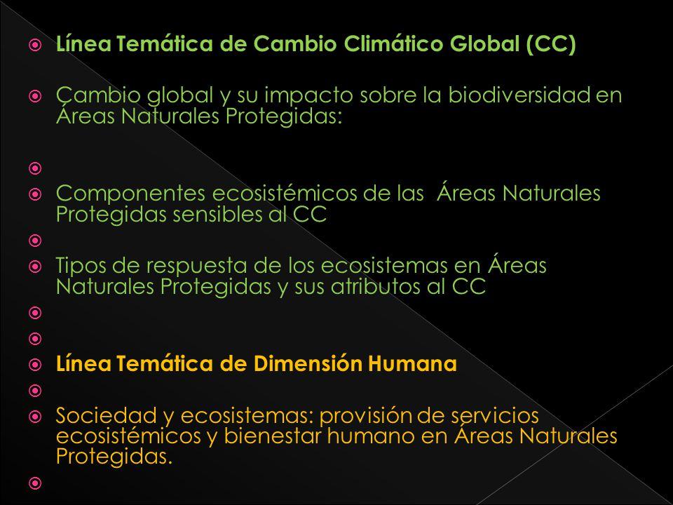 Línea Temática de Cambio Climático Global (CC) Cambio global y su impacto sobre la biodiversidad en Áreas Naturales Protegidas: Componentes ecosistémi