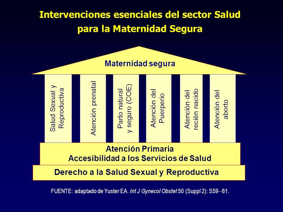 Intervenciones esenciales del sector Salud para la Maternidad Segura Atención Primaria Accesibilidad a los Servicios de Salud Derecho a la Salud Sexual y Reproductiva Maternidad segura Salud Sexual y Reproductiva Parto natural y seguro (COE) Atención del Puerperio Atención prenatal FUENTE: adaptado de Yuster EA.