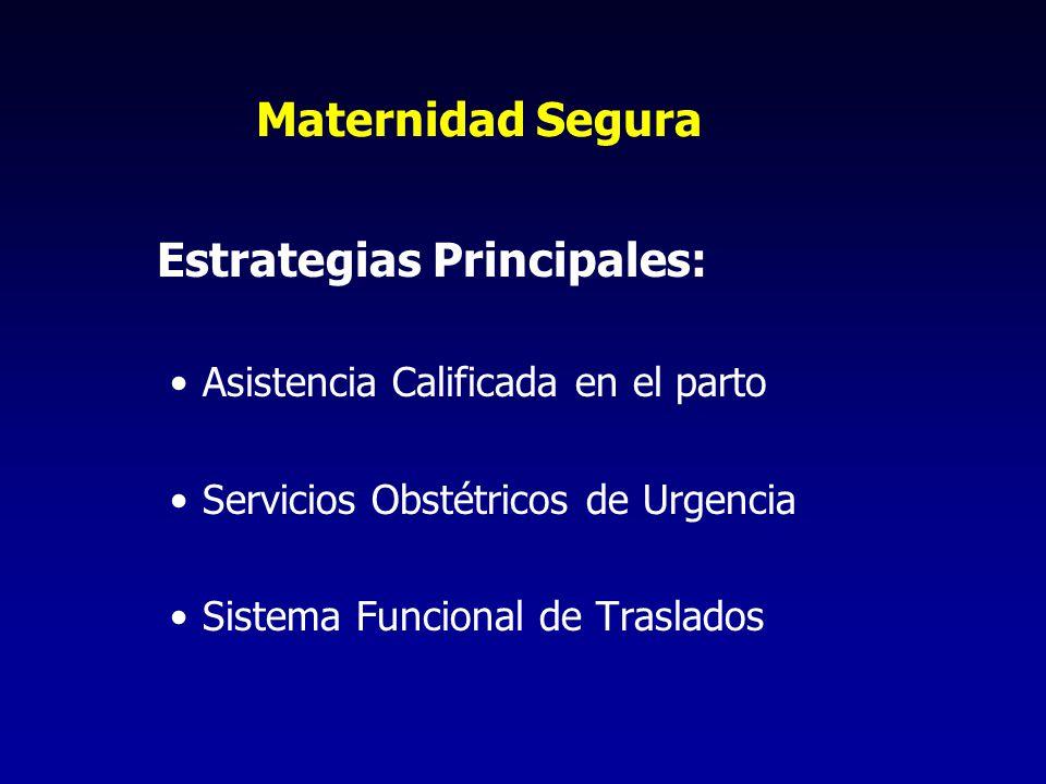 Maternidad Segura Estrategias Principales: Asistencia Calificada en el parto Servicios Obstétricos de Urgencia Sistema Funcional de Traslados
