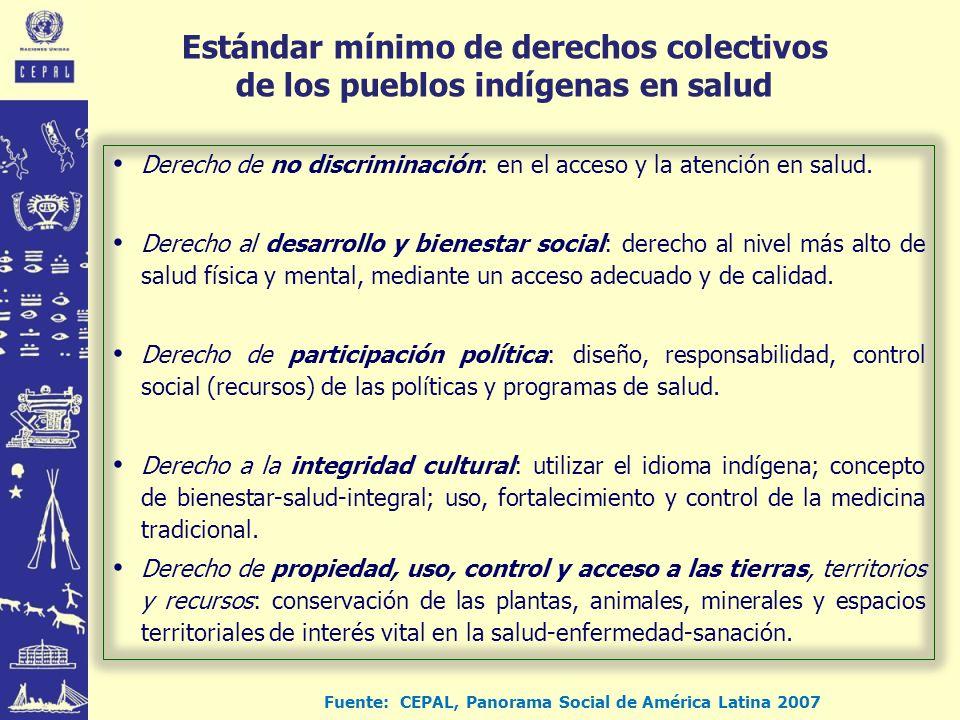 Estándar mínimo de derechos colectivos de los pueblos indígenas en salud Derecho de no discriminación: en el acceso y la atención en salud.