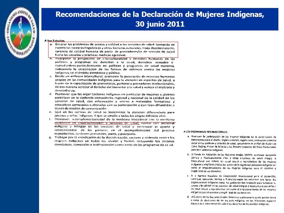 Recomendaciones de la Declaración de Mujeres Indígenas, 30 junio 2011