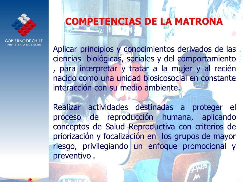COMPETENCIAS DE LA MATRONA Aplicar principios y conocimientos derivados de las ciencias biológicas, sociales y del comportamiento, para interpretar y tratar a la mujer y al recién nacido como una unidad biosicosocial en constante interacción con su medio ambiente.