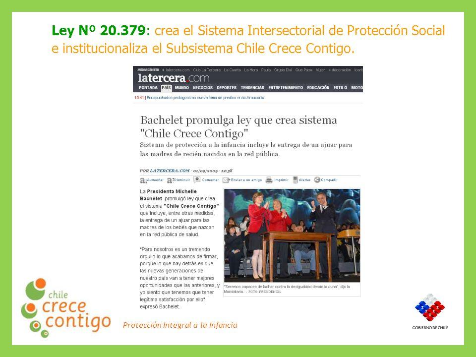 Protección Integral a la Infancia Ley Nº 20.379: crea el Sistema Intersectorial de Protección Social e institucionaliza el Subsistema Chile Crece Contigo.