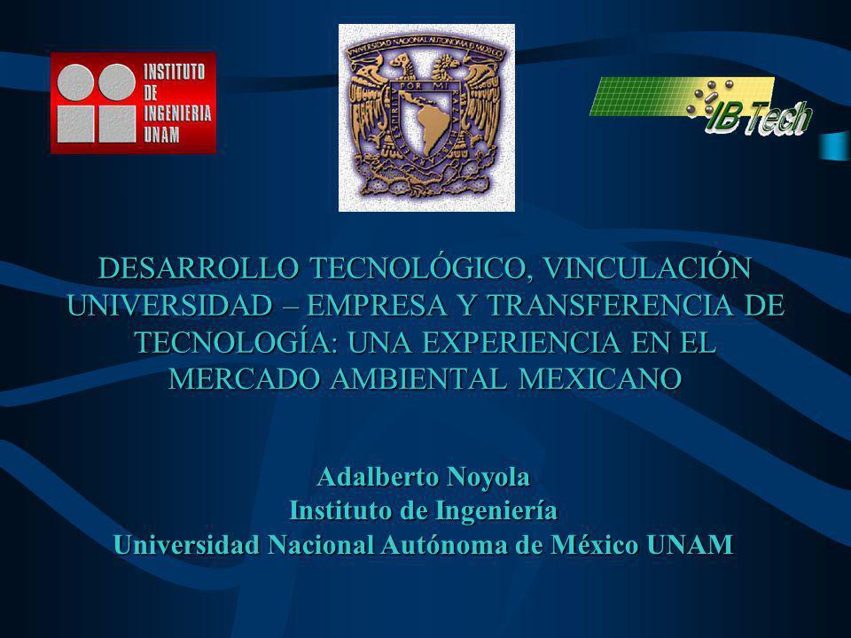 DESARROLLO TECNOLÓGICO, VINCULACIÓN UNIVERSIDAD – EMPRESA Y TRANSFERENCIA DE TECNOLOGÍA: UNA EXPERIENCIA EN EL MERCADO AMBIENTAL MEXICANO Adalberto No