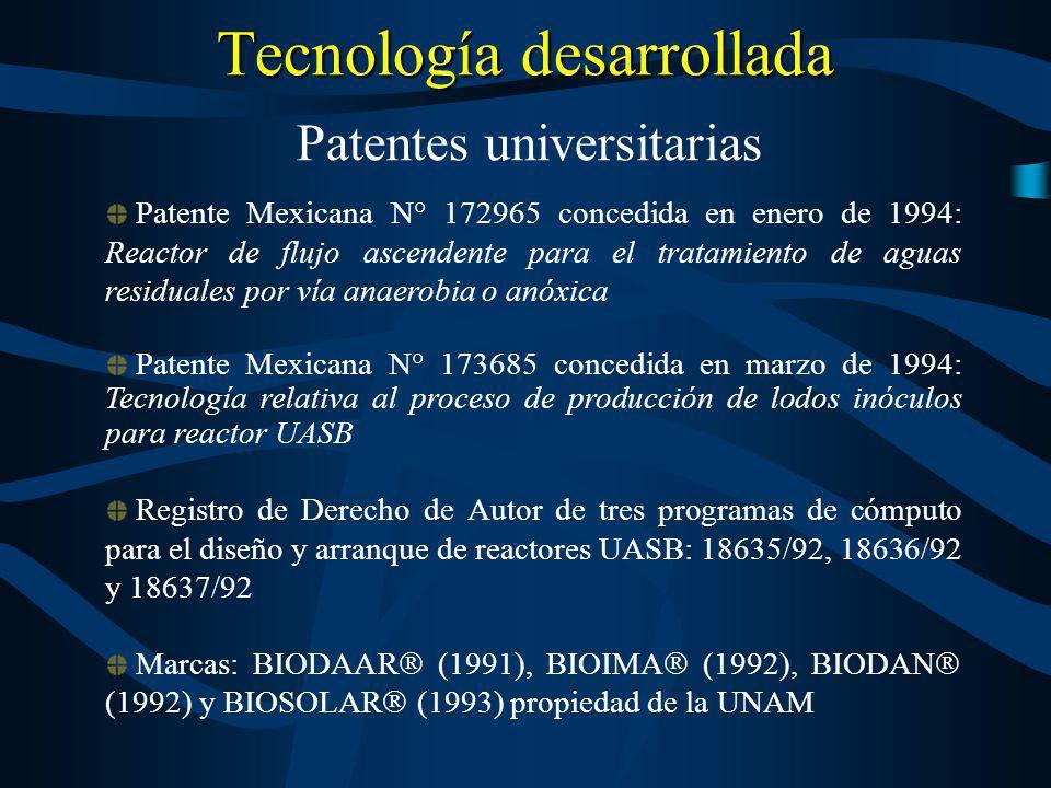 Tecnología desarrollada Patente Mexicana N° 172965 concedida en enero de 1994: Reactor de flujo ascendente para el tratamiento de aguas residuales por