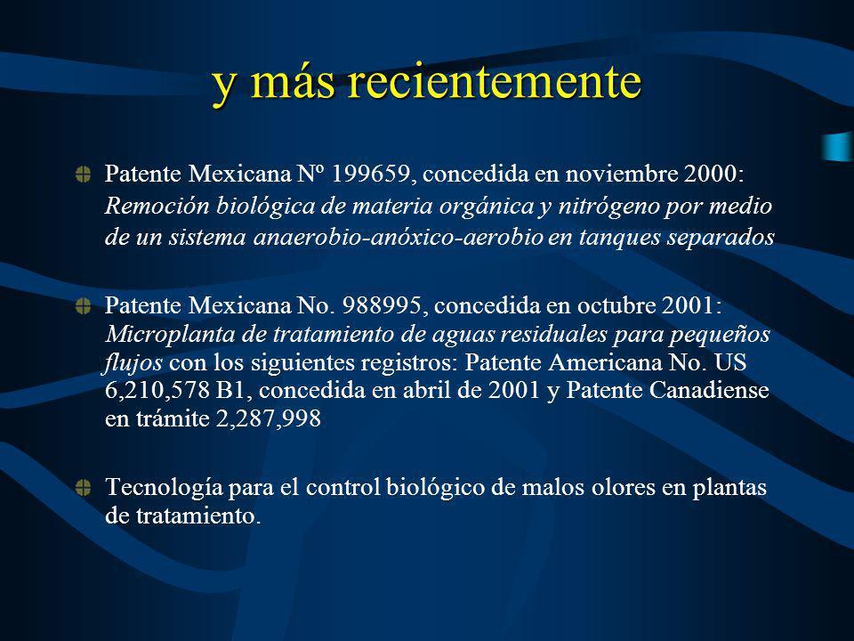 y más recientemente Patente Mexicana Nº 199659, concedida en noviembre 2000: Remoción biológica de materia orgánica y nitrógeno por medio de un sistem