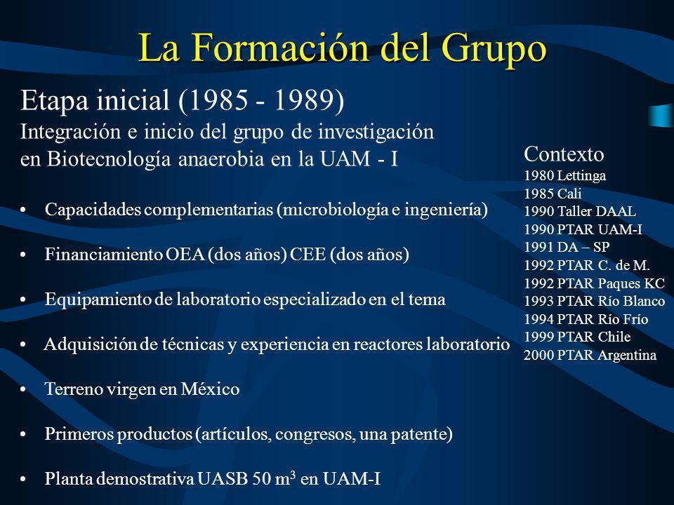 La Formación del Grupo Etapa inicial (1985 - 1989) Integración e inicio del grupo de investigación en Biotecnología anaerobia en la UAM - I Capacidade