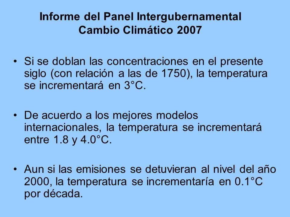 Informe del Panel Intergubernamental Cambio Climático 2007 Si se doblan las concentraciones en el presente siglo (con relación a las de 1750), la temperatura se incrementará en 3°C.