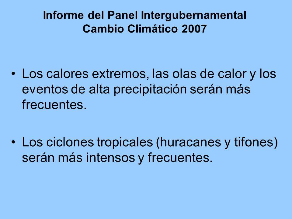 Informe del Panel Intergubernamental Cambio Climático 2007 Los calores extremos, las olas de calor y los eventos de alta precipitación serán más frecuentes.