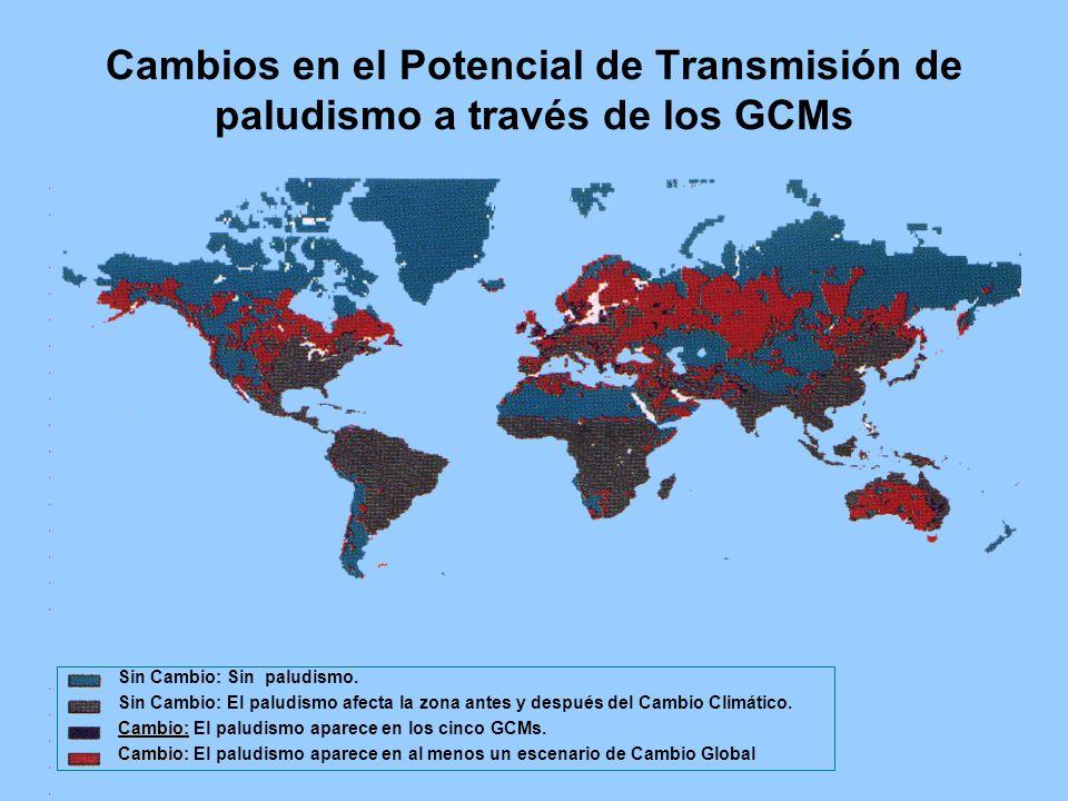 Cambios en el Potencial de Transmisión de paludismo a través de los GCMs Sin Cambio: Sin paludismo.