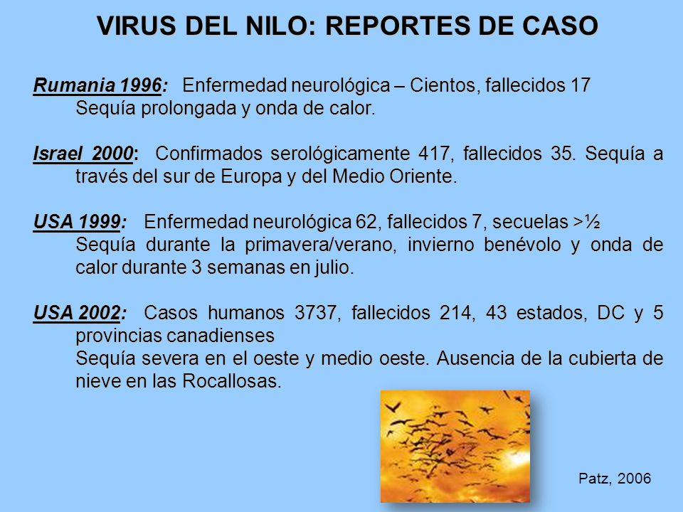 VIRUS DEL NILO: REPORTES DE CASO Rumania 1996: Enfermedad neurológica – Cientos, fallecidos 17 Sequía prolongada y onda de calor.