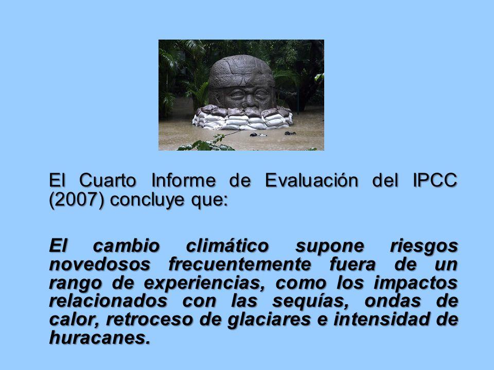 El Cuarto Informe de Evaluación del IPCC (2007) concluye que: El cambio climático supone riesgos novedosos frecuentemente fuera de un rango de experiencias, como los impactos relacionados con las sequías, ondas de calor, retroceso de glaciares e intensidad de huracanes.