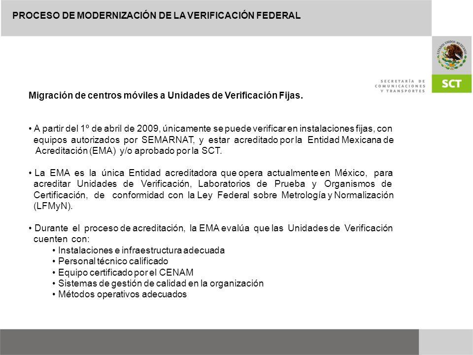 PROCESO DE MODERNIZACIÓN DE LA VERIFICACIÓN FEDERAL Migración de centros móviles a Unidades de Verificación Fijas. A partir del 1º de abril de 2009, ú