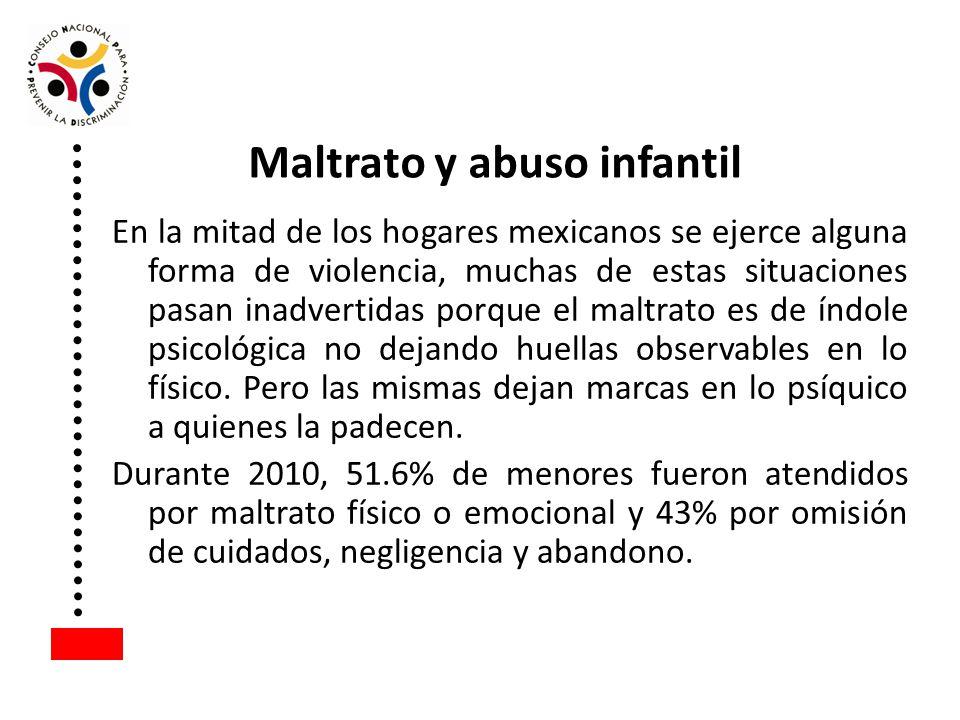 En la mitad de los hogares mexicanos se ejerce alguna forma de violencia, muchas de estas situaciones pasan inadvertidas porque el maltrato es de índo