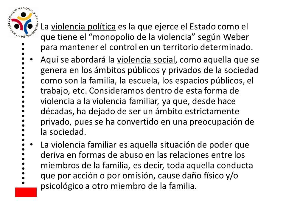 La violencia política es la que ejerce el Estado como el que tiene el monopolio de la violencia según Weber para mantener el control en un territorio