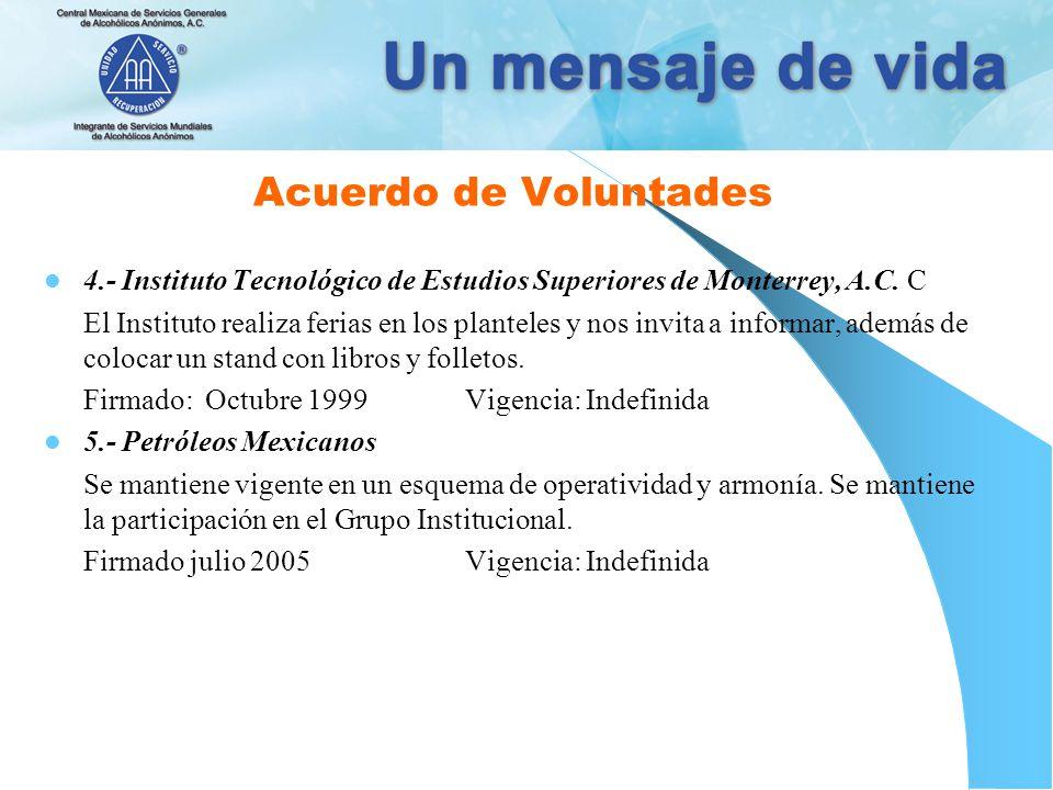 Acuerdo de Voluntades 4.- Instituto Tecnológico de Estudios Superiores de Monterrey, A.C.