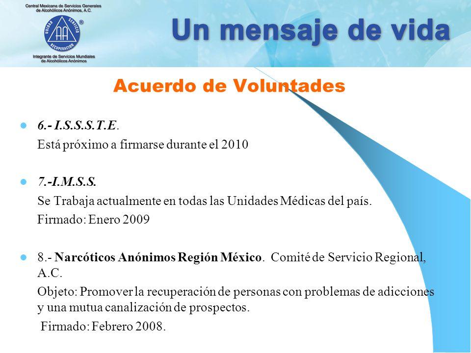 Acuerdo de Voluntades 6.- I.S.S.S.T.E.Está próximo a firmarse durante el 2010 7.-I.M.S.S.