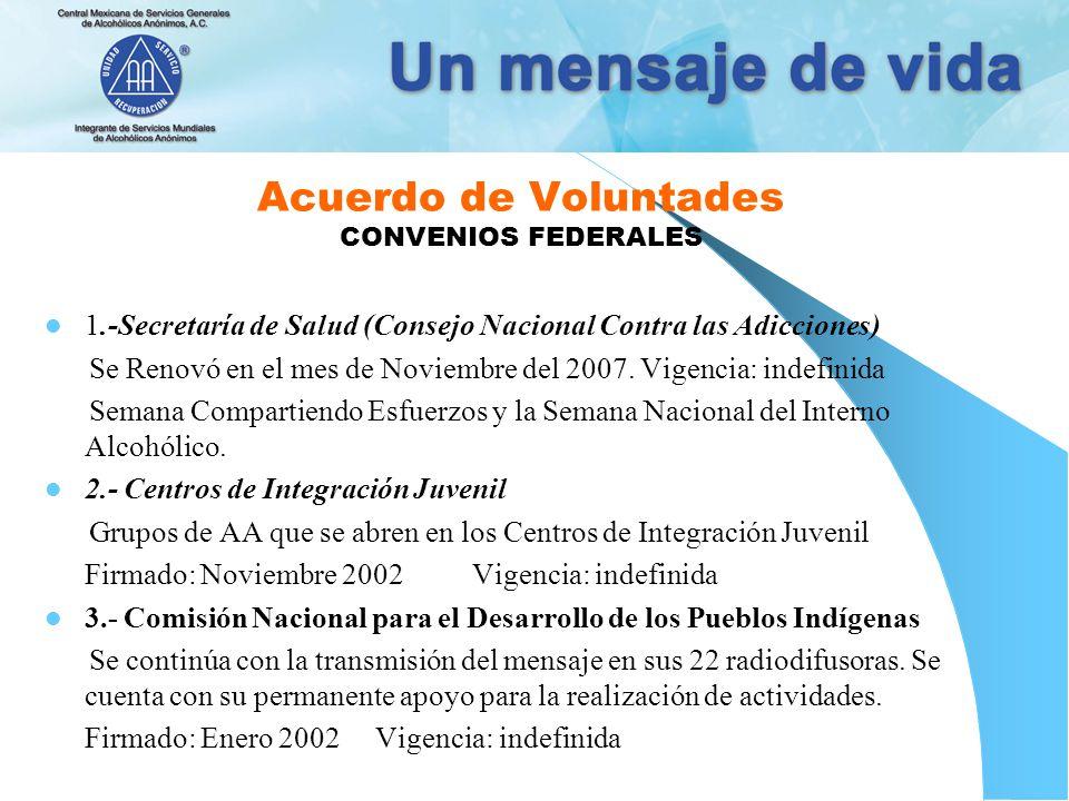 Acuerdo de Voluntades CONVENIOS FEDERALES 1.-Secretaría de Salud (Consejo Nacional Contra las Adicciones) Se Renovó en el mes de Noviembre del 2007.
