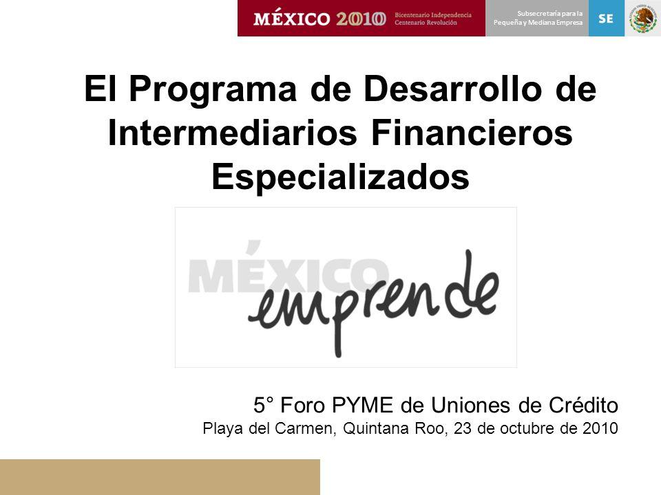 Subsecretaría para la Pequeña y Mediana Empresa El Programa de Desarrollo de Intermediarios Financieros Especializados 5° Foro PYME de Uniones de Créd