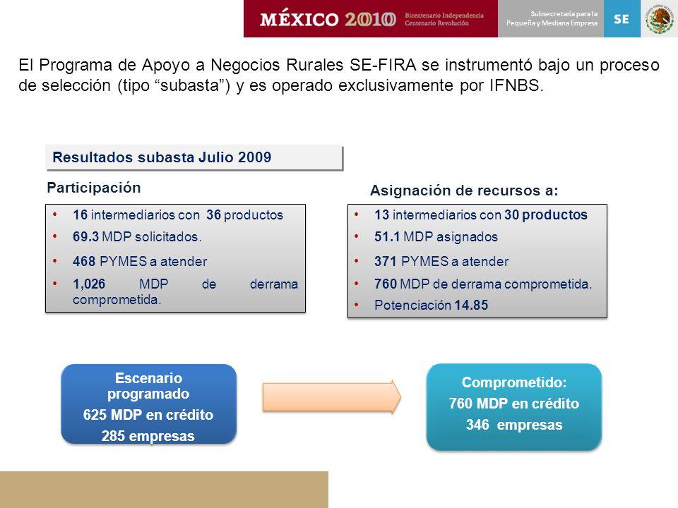 Subsecretaría para la Pequeña y Mediana Empresa El Programa de Apoyo a Negocios Rurales SE-FIRA se instrumentó bajo un proceso de selección (tipo suba