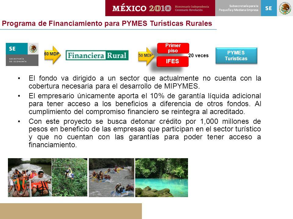 Subsecretaría para la Pequeña y Mediana Empresa Programa de Financiamiento para PYMES Turísticas Rurales 20 veces Primer piso IFES PYMES Turísticas PY