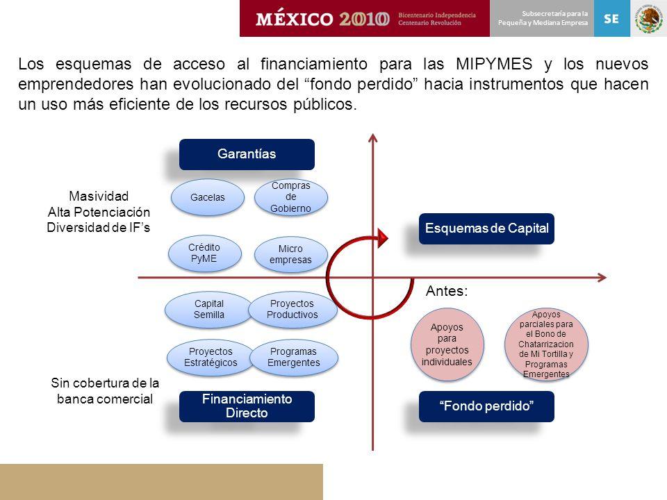 Subsecretaría para la Pequeña y Mediana Empresa Financiamiento Directo Fondo perdido Esquemas de Capital Garantías Capital Semilla Proyectos Productiv