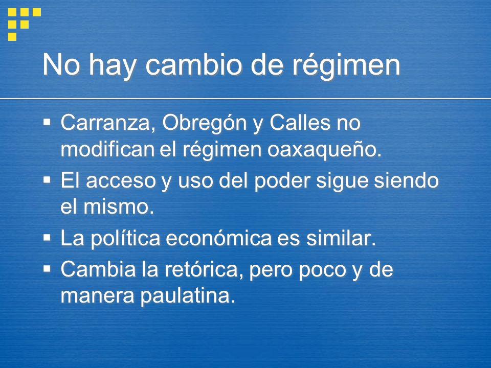 No hay cambio de régimen Carranza, Obregón y Calles no modifican el régimen oaxaqueño. El acceso y uso del poder sigue siendo el mismo. La política ec