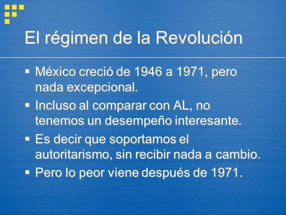 El régimen de la Revolución México creció de 1946 a 1971, pero nada excepcional. Incluso al comparar con AL, no tenemos un desempeño interesante. Es d