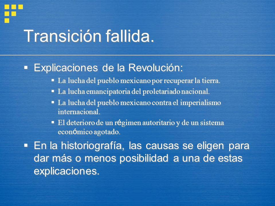 Transición fallida. Explicaciones de la Revolución: La lucha del pueblo mexicano por recuperar la tierra. La lucha emancipatoria del proletariado naci
