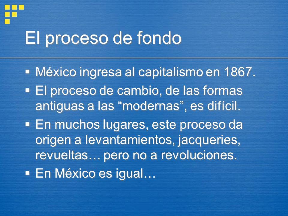 El proceso de fondo México ingresa al capitalismo en 1867. El proceso de cambio, de las formas antiguas a las modernas, es difícil. En muchos lugares,