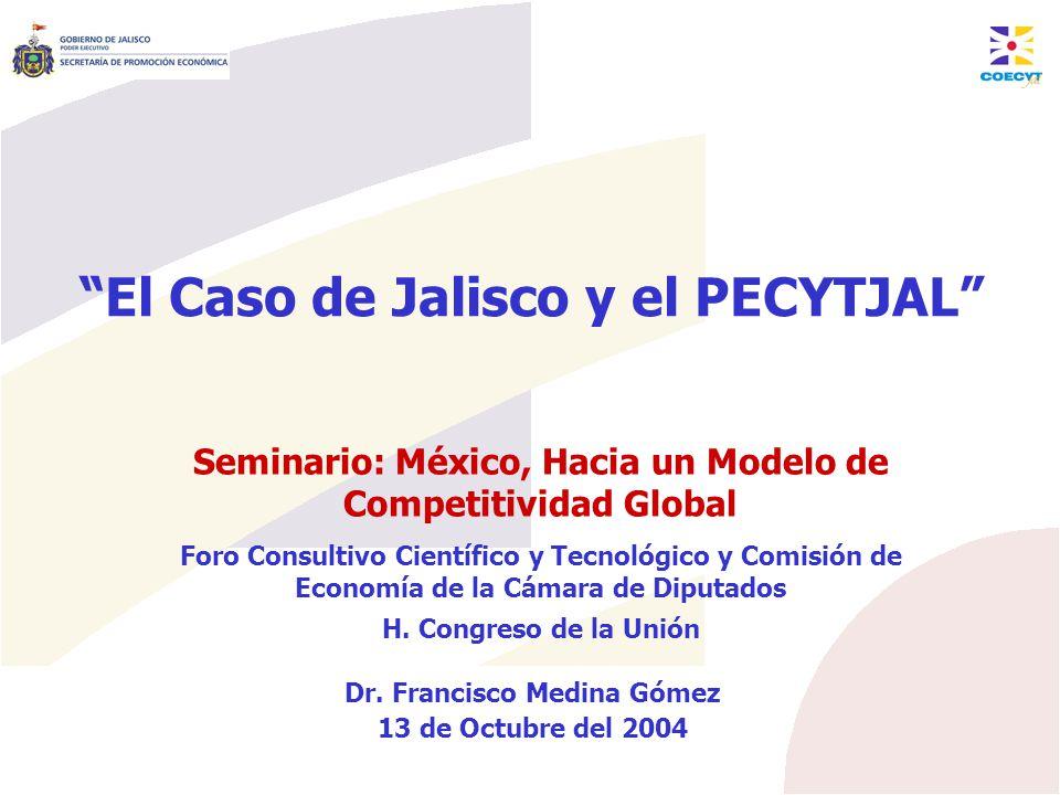 Modelo de Desarrollo Económico de Jalisco El PECYTJAL en el desarrollo sectorial y de las cadenas productivas Cadenas Tradicionales Biotecnología Desarrollo de proveedores 1.