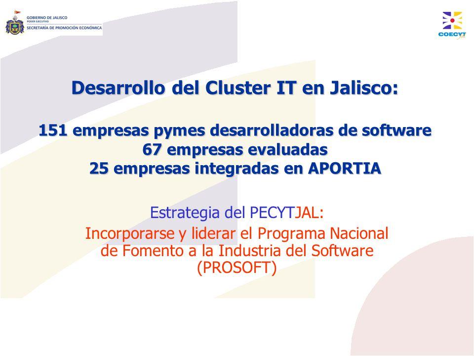 Desarrollo del Cluster IT en Jalisco: 151 empresas pymes desarrolladoras de software 67 empresas evaluadas 25 empresas integradas en APORTIA Estrategi